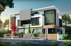 Ultra modern Bungalow exterior day rendering and elevation design by Power, 2015 - Threed Power Visualisation Rahul Simple House Design, House Front Design, Modern House Design, Modern Bungalow Exterior, Haus Am Hang, Bungalow Haus Design, Ultra Modern Homes, Facade House, Building Design