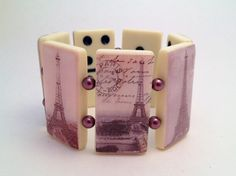 Cream-Colored Full-Sized Domino Bracelet of the Eiffel Tower on Etsy, $20.00
