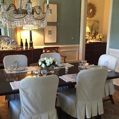 Beth Elsey's lovely dining room in Farrow & Ball Oval Room Blue