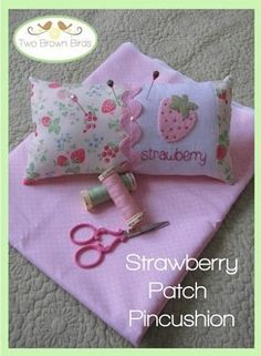 """""""Strawberry Patch Pincushion"""" designed by Fiona Tully for Two Brown Birds."""