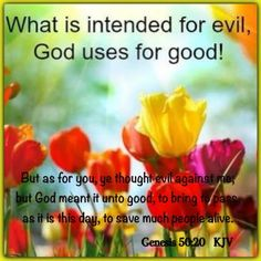 Genesis  50:20   But as for you, ye thought evil against me; but God meant it unto good, to bring to