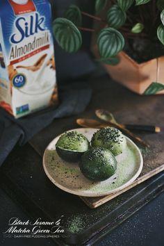 Matcha Green Tea & Black Sesame Pudding Spheres.