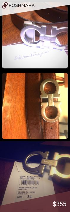 """Present never fit me size 34 AUTHENTIC NEW FERRAGAMO  LARGE GANCIO REVERSIBLE  RADICA~NERO SPRING SUMMER 2017 COLLECTION  HAS NFC (NEAR FIELD COMMS.) ELEC. IDENTIFIER TAGS to PROVE AUTHENTICITY  • Boldly textured  • calfskin leather elevates a stylish,  • reversible belt  • crafted in Italy  • gleaming double-Gancio buckle. • 1 1/4"""" belt width • 1 5/8"""" x 3 1/2"""" buckle •  STYLE NUMBER 23A564 658084  HEIGHT 1.3 IN   REVERSIBLE BELT FEATURING DOUBLE GANCIO BUCKLE IN SILVER.  COLLEC. SS 2017…"""