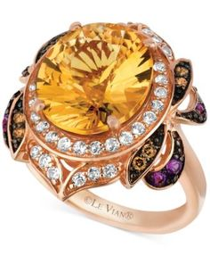 $1078 Le Vian Multi-Stone (6-3/4 ct. t.w.) and Chocolate Diamond (1/8 ct. t.w.) Oval- and Round-cut Ring in 14k Rose Gold