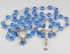 Blue Bead Tincut Rosary - Sterling Crucifix and Center - Deluxe Gift Box Included Catholic Jewelry, Blue Beads, Jewelry Box, Prayers, Sterling Silver, Blog, Madonna, Arduino, Mantra