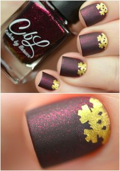 Colors by llarowe Winter 2015 collection - Breathless nail art with gold accent by @tanyaessy.