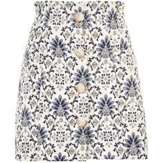 Topshop Porcelain Jacquard Mini Skirt (140 PEN) ❤ liked on Polyvore featuring skirts, mini skirts, topshop, ivory, topshop mini skirt, ivory mini skirt, white mini skirt and paperbag skirts