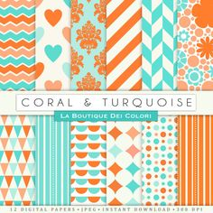 Coral turquoise Digital Paper Pack Digital Coral and turquoise paper digital paper coral Instant Download for  Commercial Use