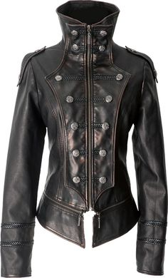 Gothic leather-look uniform jacket by Punk Rave #leather #style #jacket