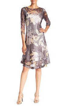 KOMAROV - 3/4 Sleeve Print Dress