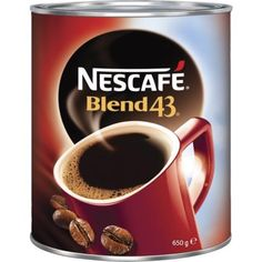 NESCAFÉ BLEND 43 is proudly roasted and blended from 100% natural coffee beans right here locally in Gympie, Australia. A signature blend of high quality Arabica coffee beans and full-bodied Robusta coffee beans to deliver a consistently bold, well-rounded flavour and rich aroma that you can always rely on.  There is 650 g in this pack. It comes packaged in a tin to keep the coffee fresh. The instant coffee is a quick and easy solution when you don't have time to wait for a machine. Arabica Coffee Beans, Natural Coffee, Nescafe, Instant Coffee, Have Time, Tin, Roast, Things To Come, Australia