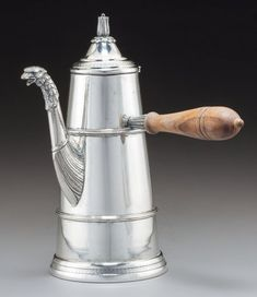A German Silver Figural Chocolate Pot, late century Marks: inches high x - Available at 2018 June 8 - 10 Fine &. Chocolate Pots, Antique Silver, Pottery, Antiques, German, Tableware, Cocoa, Tea, Kitchen