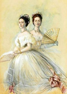 teatimeatwinterpalace:  Dagmar and her sister Alexandra by Winterhalter  Why have I not seen this before?
