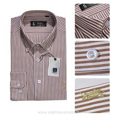 ralph lauren chemises pour hommes ligne longues big brun rougeetre Ralph  Lauren Homme Pas Cher b8f294115d27