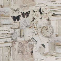 White Butterfly Chic - Decoratiestoffen dieren - Decoratiestoffen met motief