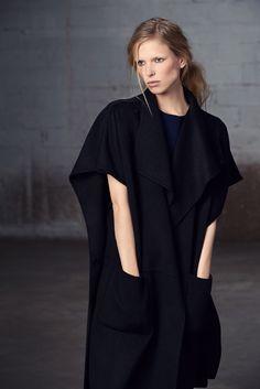 Cape Coat - modern tailoring; pattern cutting; contemporary fashion // Tibi Pre-Fall 2015