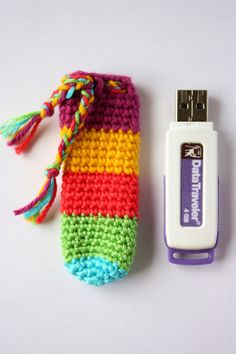 Crochet USB Flash Drive Case - Multicolor  too cute!