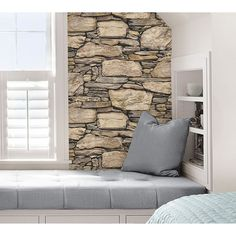 This peel and stick wallpaper gives the look of a stone wall. The chic design is perfect for a living room feature wall or kitchen backsplash.Ê - Peel and stick to apply, pull up to remove - NuWallpap Look Wallpaper, Rustic Wallpaper, Stone Wallpaper, Peel And Stick Wallpaper, Adhesive Wallpaper, Vinyl Wallpaper, Kitchen Backsplash Peel And Stick, Stone Wall Design, Exterior House Colors