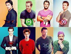 The Handsome & Gorgeous SuperHeroes of our time. Christian Bale, Ryan Reynolds, Chris Hemsworth, Chris Evans, Andrew Garfield, Hugh Jackman, Robert Downy Jr