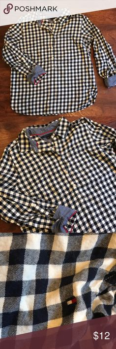 """Tommy Hilfiger Checkered Flannel Shirt Checkered Flannel design with chambray accents on sleeves and collar. Sleeves have rolled tab details and the top has 3/4 button down front. Great condition. 39"""" Bust 24.5"""" Long Tommy Hilfiger Tops Button Down Shirts"""
