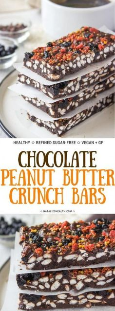 Superfoods infused Raw Chocolate Peanut Butter Crunch Bars are amazingly HEALTHY snack. These bars are loaded with nutrients and powerful antioxidants, as well with some incredible flavors. Bursting with crispiness these are the perfect guilt-free chocolate pleasure. Refined sugar-free. Vegan. Gluten-free. #healthyrecipes #healthy #healthylifestyle #healthylife #dessert #dessertrecipes #snack #chocolate #chocolaterecipes #weightlossrecipes #superfood |NATALIESHEALTH.com