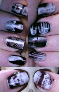 X-ray Nails using temporary tattoo paper! I am totally finding out how to do this for NRTW!