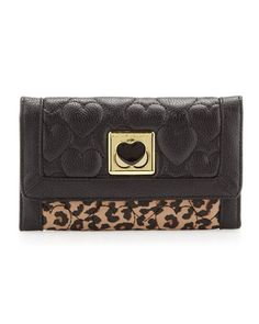 Be My Wonderful Pebbled Quilted Flapover Wallet, Leopard/Black by Betsey Johnson at Neiman Marcus Last Call.