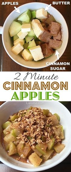 Super easy and quick cinnamon apple dessert! Top with vanilla ice cream or granola. YUM