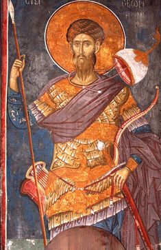 Theodore Tiro (Tyro), fesco from the north choir of the Dečani church nave, Fresco, Byzantine Icons, Byzantine Art, Religious Icons, Religious Art, European History, Art History, African Royalty, Russian Icons
