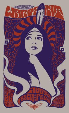 Designed by Robin Gnista to commemorate the band's performance at Austin Psych Fest. 2 color screen print on recycled chipboard stock, limited numbered edition of It measures x Psychedelic Rock, Psychedelic Typography, Rock Posters, Band Posters, Retro Poster, Vintage Posters, Gig Poster, 60s Art, Deco Retro