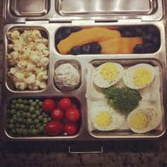 @planetbox My daughter's lunch for tomorrow: hard-boiled eggs with broccoli floret spacer, grape tomatoes and English peas, organic popcorn (it's a whole grain!), cantaloupe, blueberries, and a whole wheat powdered doughnut. The eggs are a new protein for her, but she has thusly preapproved. #healthykidslunch #planetbox #creativekidsfood #rockthelunchbox #9yearold #peanutallergies