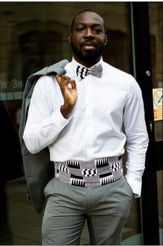 White  black bow tie & cummerbund set African men formal by Laviye