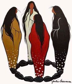 Moon Circle of Women....to the four winds (Jackie Traverse, Anishinaabe. Hokahey)