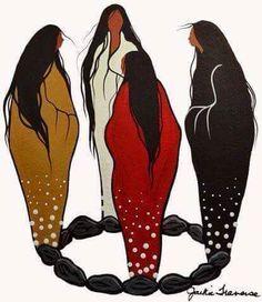 Moon Circle of Women....to the four winds (Jackie Traverse, Anishinaabe. Hokahey)