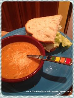 Pressure Cooker Tomato Basil Parmesan Soup...With a Grilled Cheese...I'll be there...I love Sandwiches.....