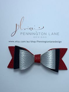 Red, Black & Silver leather Hairbow on clip Red Black, Black Silver, One More Step, Hairbows, Trending Outfits, Unique Jewelry, Handmade Gifts, Leather, Etsy