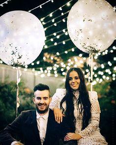 Engagement party photography lights balloons asilio White boho diy backyard