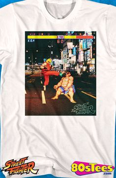 Ken vs E. Honda Street Fighter T-Shirt: Street Fighter Mens T-Shirt Attention Street Fighter Geeks: This popular video game is artfully illustrated and designed and a must have to your men's fashion collection.