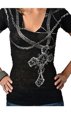 Affliction® Ladies Black w/ Silver Foil Chains & Cross V-Neck Short Sleeve Burnout Tee | Cavender's Boot City