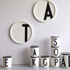 Design Letters porcelain plates with Arne Jacobsen typography A-Z Service Assiette, Lettering Design, Design Letters, Letter Mugs, Letter Art, Arne Jacobsen, Letters And Numbers, Danish Design, Black And White