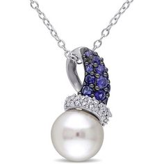Miadora Sterling Silver Freshwater Pearl Created Blue Sapphire and 1/10ct TDW Diamond Necklace