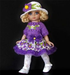 """SWEATER,HAT,SUNDRESS,TIGHTS&SHOE SET MADE FOR TONNER PATSY &SIMILAR SIZE 10""""DOLL"""