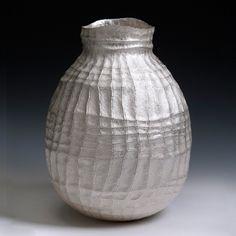 """""""Large seni vase"""" by Hiroshi Suzuki. 2013. Hammer-raised and chased Fine silver 999."""
