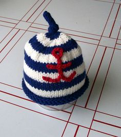 Sailor baby anchor hat knit baby photo prop hat by LoveyChild, $22.00