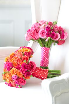 Orange and hot pink wedding bouquet ... with shaded pinks bouquet