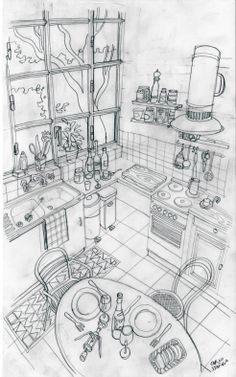 drawings of friends Drawing Interior, Interior Design Sketches, Environment Sketch, Perspective Sketch, Illustrations Vintage, Figure Sketching, Art Drawings Sketches, Drawing Lessons, Art Sketchbook