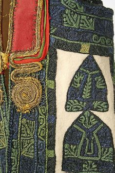 Embroidered Detail from Ensemble , Attica , Greece Textiles, Textile Patterns, Embroidery Art, Cross Stitch Embroidery, Greek Traditional Dress, Ethno Style, Old Dresses, Costume Patterns, Greek Art