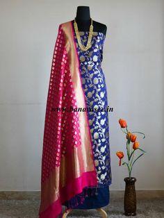 Banarasee/Banarasi Salwar Kameez Semi Katan Silk Zari Jaal Work Fabric With Contrast Dupatta-Deep Blue