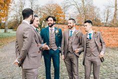 Groom wears a navy tweed suit with brown tweed waistcoat. Groomsmen wear brown tweed suits. Images by Jessica Reeve Photography