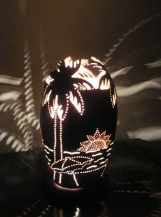 Hand crafted beach theme gourd lamp with palm by tamiredding, $85.00